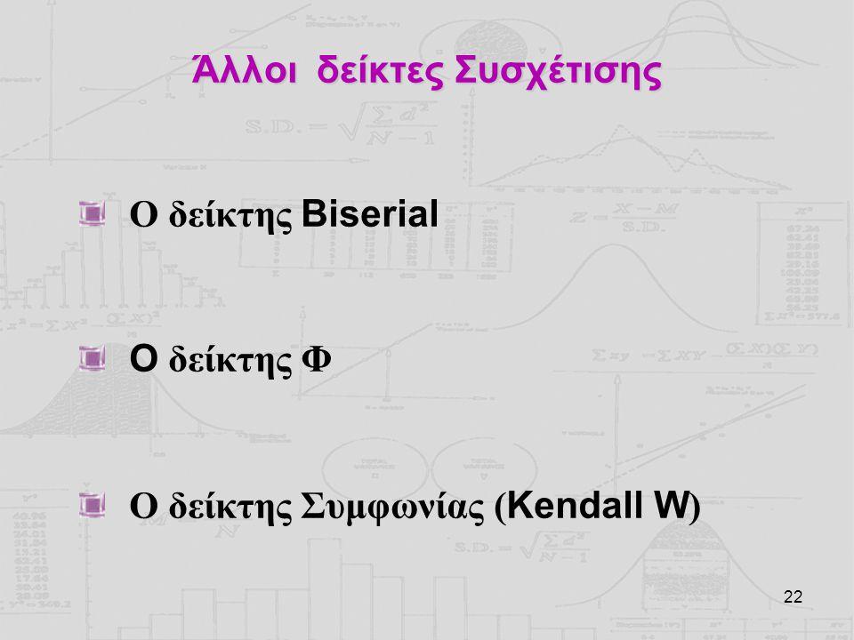 22 Άλλοι δείκτες Συσχέτισης Ο δείκτης Biserial O δείκτης Φ Ο δείκτης Συμφωνίας ( Kendall W )