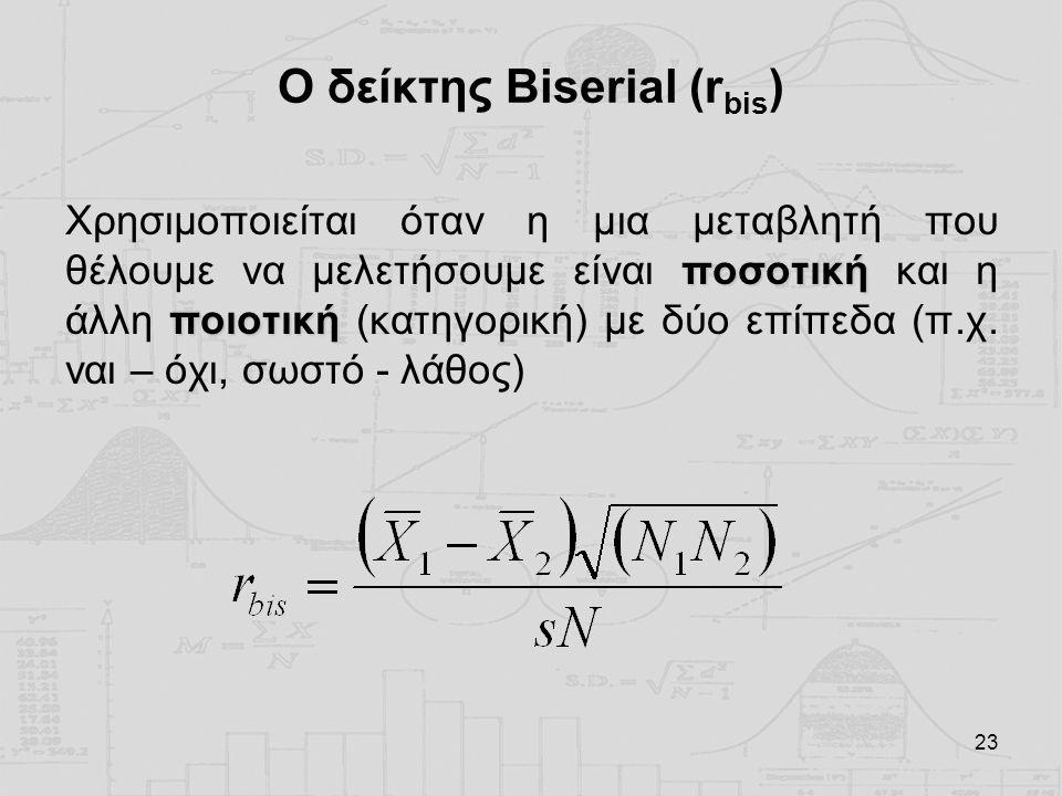 23 Ο δείκτης Biserial (r bis ) ποσοτική ποιοτική Χρησιμοποιείται όταν η μια μεταβλητή που θέλουμε να μελετήσουμε είναι ποσοτική και η άλλη ποιοτική (κ
