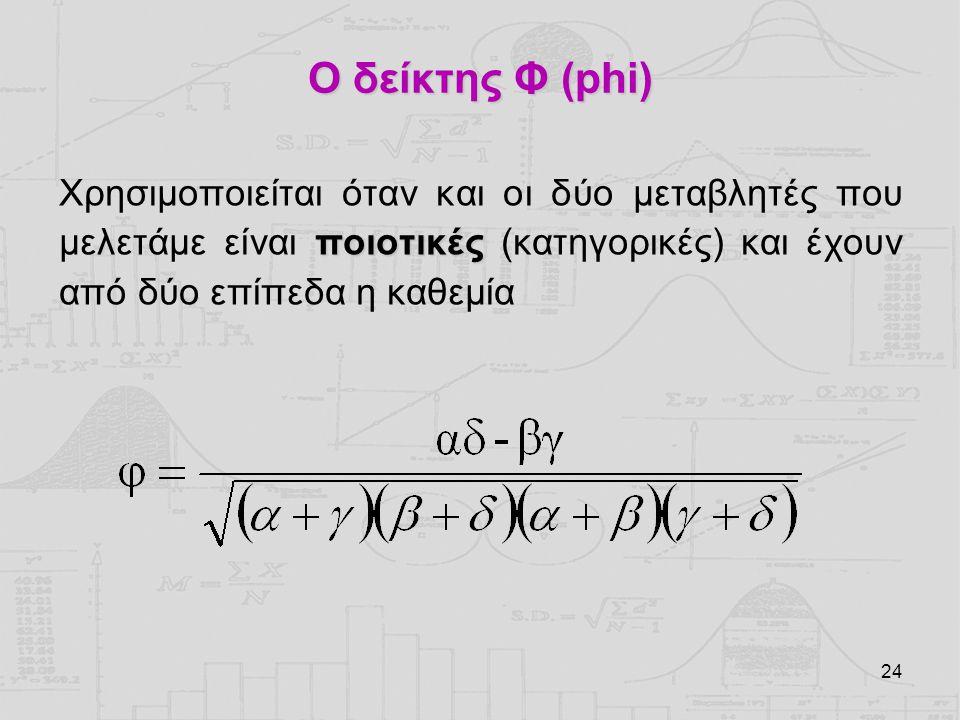 24 Ο δείκτης Φ (phi) ποιοτικές Χρησιμοποιείται όταν και οι δύο μεταβλητές που μελετάμε είναι ποιοτικές (κατηγορικές) και έχουν από δύο επίπεδα η καθεμ
