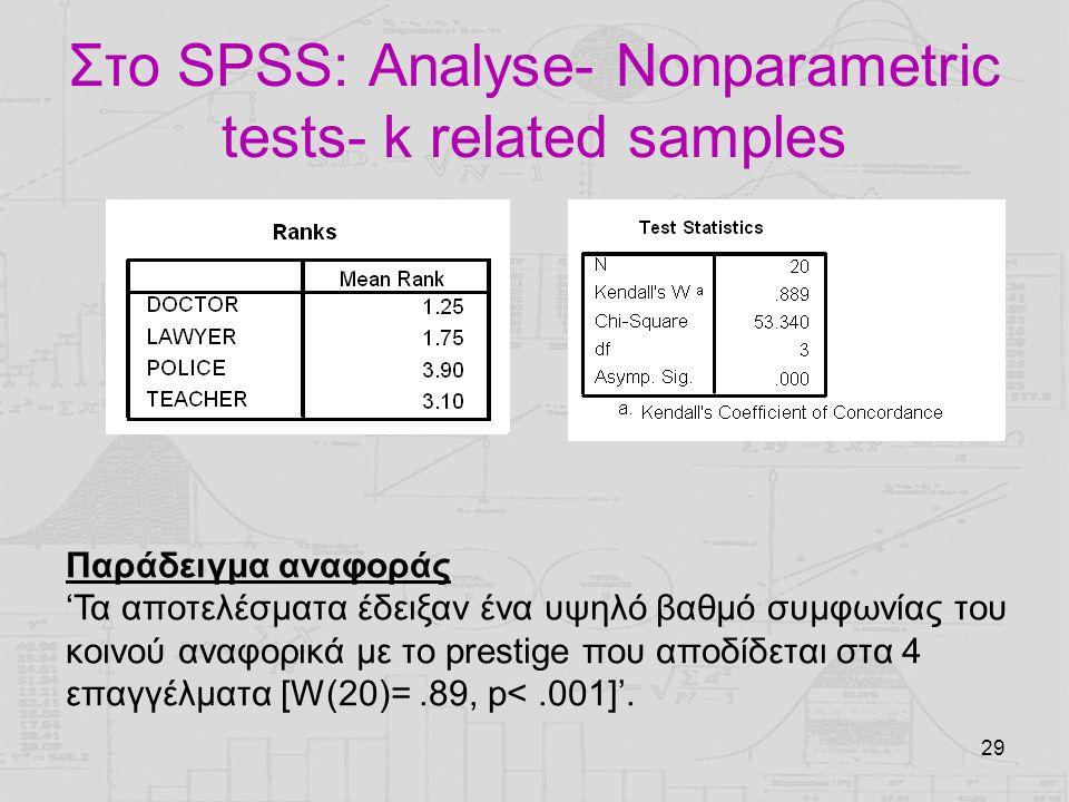 29 Στο SPSS: Analyse- Nonparametric tests- k related samples Παράδειγμα αναφοράς 'Τα αποτελέσματα έδειξαν ένα υψηλό βαθμό συμφωνίας του κοινού αναφορι