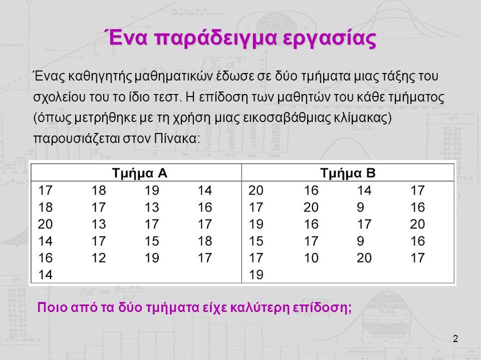 2 Ένα παράδειγμα εργασίας Ένας καθηγητής μαθηματικών έδωσε σε δύο τμήματα μιας τάξης του σχολείου του το ίδιο τεστ.