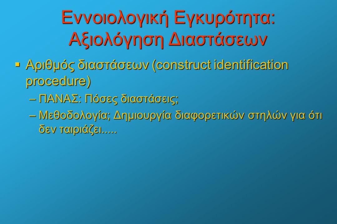 Εννοιολογική Εγκυρότητα: Αξιολόγηση Διαστάσεων  Αριθμός διαστάσεων (construct identification procedure) –ΠΑΝΑΣ: Πόσες διαστάσεις; –Μεθοδολογία; Δημιο