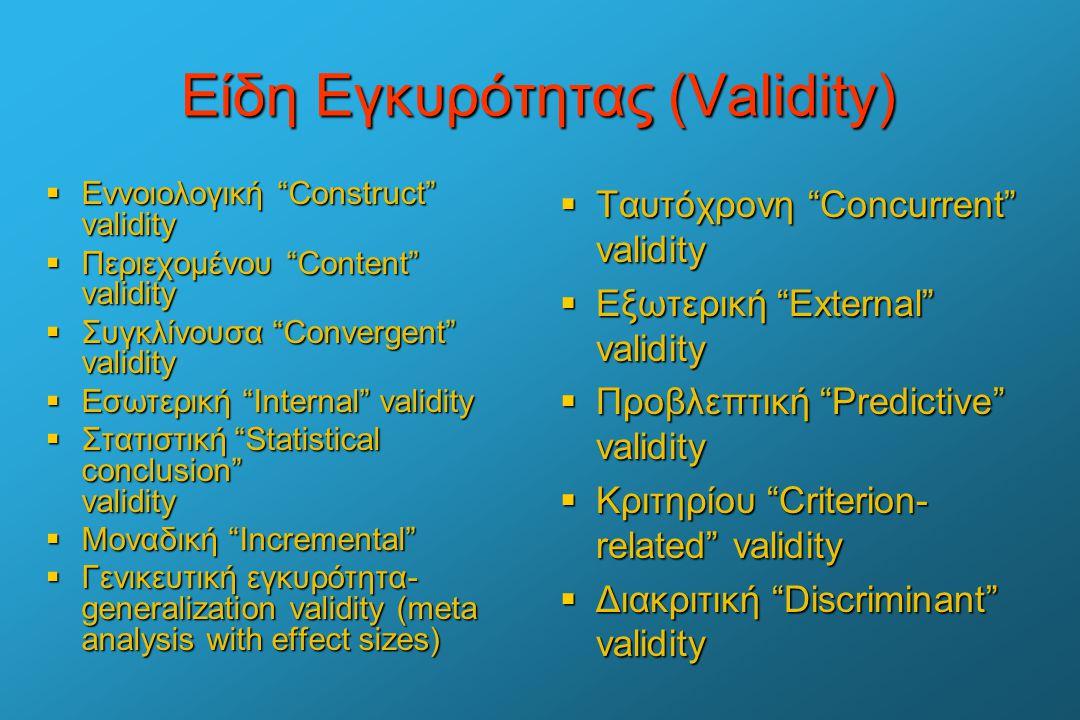 """Είδη Εγκυρότητας (Validity)  Εννοιολογική """"Construct"""" validity  Περιεχομένου """"Content"""" validity  Συγκλίνουσα """"Convergent"""" validity  Εσωτερική """"Int"""