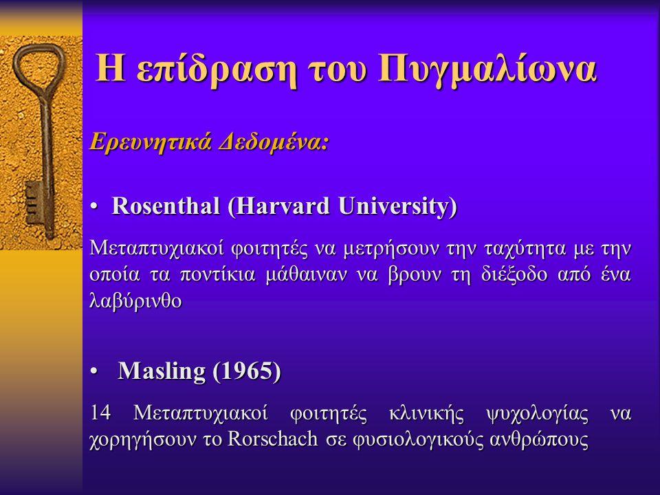 Η επίδραση του Πυγμαλίωνα Ερευνητικά Δεδομένα: Rosenthal (Harvard University) Rosenthal (Harvard University) Μεταπτυχιακοί φοιτητές να μετρήσουν την ταχύτητα με την οποία τα ποντίκια μάθαιναν να βρουν τη διέξοδο από ένα λαβύρινθο Masling (1965) Masling (1965) 14 Μεταπτυχιακοί φοιτητές κλινικής ψυχολογίας να χορηγήσουν το Rorschach σε φυσιολογικούς ανθρώπους