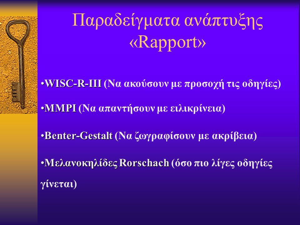 Παραδείγματα ανάπτυξης «Rapport» WISC-R-IIIWISC-R-III (Να ακούσουν με προσοχή τις οδηγίες) MMPIMMPI (Να απαντήσουν με ειλικρίνεια) Benter-GestaltBenter-Gestalt (Να ζωγραφίσουν με ακρίβεια) Μελανοκηλίδες RorschachΜελανοκηλίδες Rorschach (όσο πιο λίγες οδηγίες γίνεται)