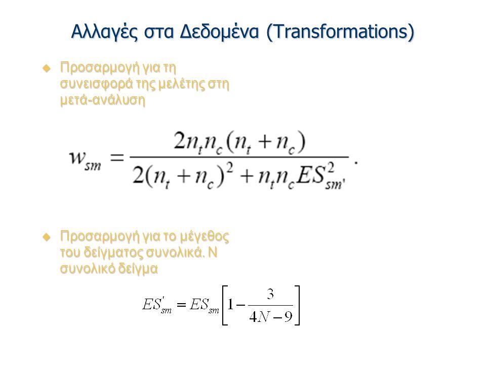 Αλλαγές στα Δεδομένα (Transformations)  Προσαρμογή για τη συνεισφορά της μελέτης στη μετά-ανάλυση  Προσαρμογή για το μέγεθος του δείγματος συνολικά.