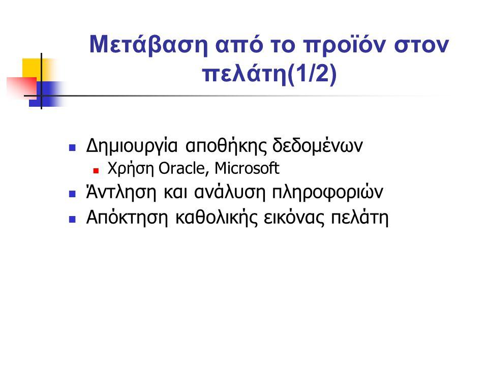 Μετάβαση από το προϊόν στον πελάτη(1/2) Δημιουργία αποθήκης δεδομένων Χρήση Oracle, Microsoft Άντληση και ανάλυση πληροφοριών Απόκτηση καθολικής εικόνας πελάτη