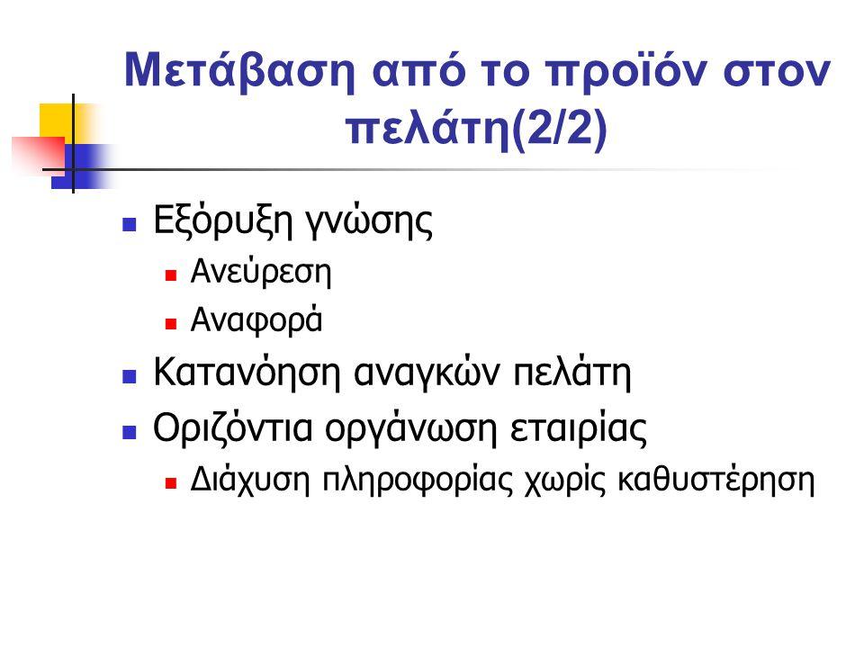 Μετάβαση από το προϊόν στον πελάτη(2/2) Εξόρυξη γνώσης Ανεύρεση Αναφορά Κατανόηση αναγκών πελάτη Οριζόντια οργάνωση εταιρίας Διάχυση πληροφορίας χωρίς καθυστέρηση