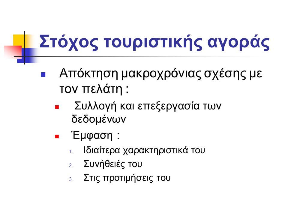 Στόχος τουριστικής αγοράς Απόκτηση μακροχρόνιας σχέσης με τον πελάτη : Συλλογή και επεξεργασία των δεδομένων Έμφαση : 1.