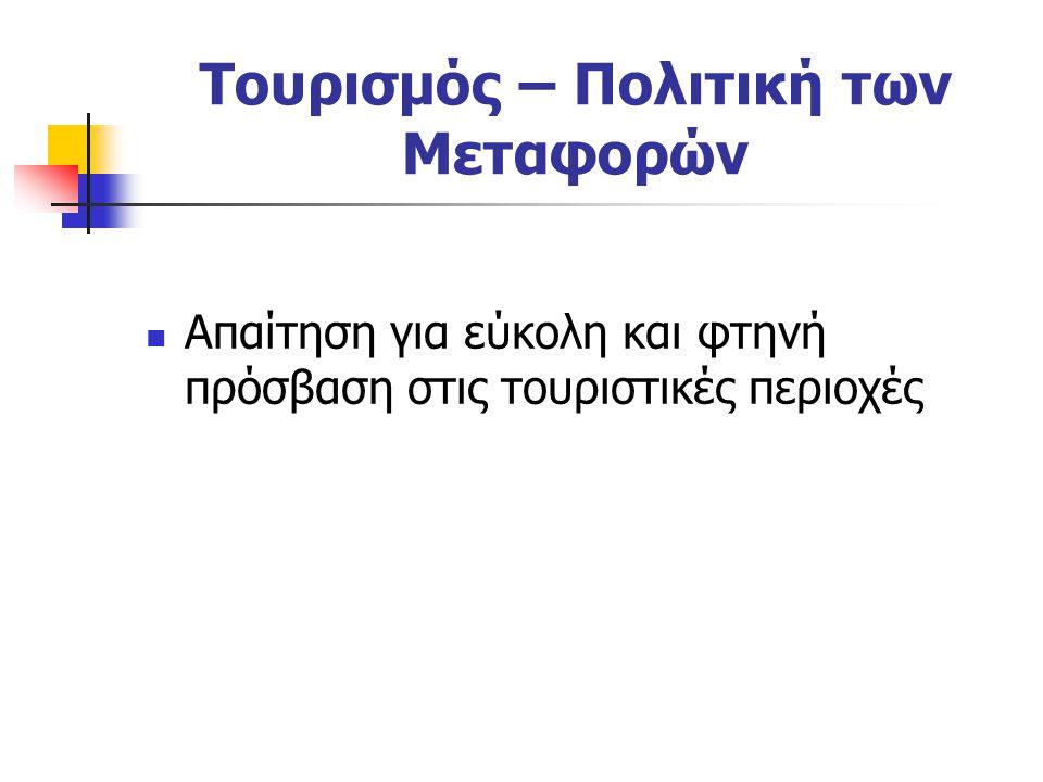 Τουρισμός – Πολιτική των Μεταφορών Απαίτηση για εύκολη και φτηνή πρόσβαση στις τουριστικές περιοχές