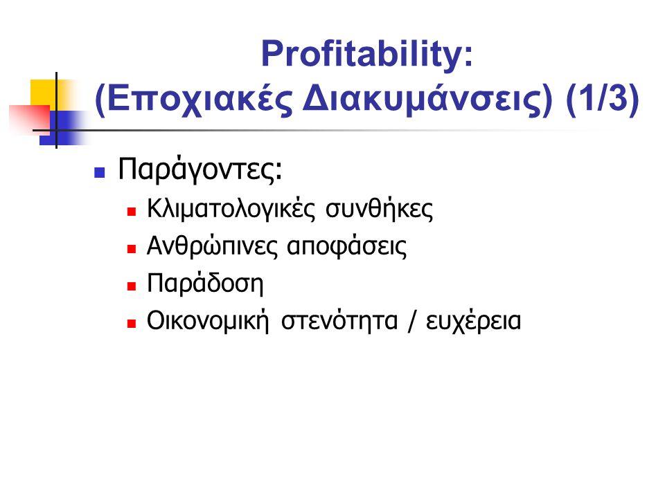 Profitability: (Εποχιακές Διακυμάνσεις) (1/3) Παράγοντες: Κλιματολογικές συνθήκες Ανθρώπινες αποφάσεις Παράδοση Οικονομική στενότητα / ευχέρεια