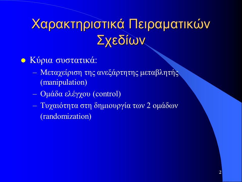 2 Χαρακτηριστικά Πειραματικών Σχεδίων l Κύρια συστατικά: –Μεταχείριση της ανεξάρτητης μεταβλητής (manipulation) –Ομάδα ελέγχου (control) –Τυχαιότητα σ
