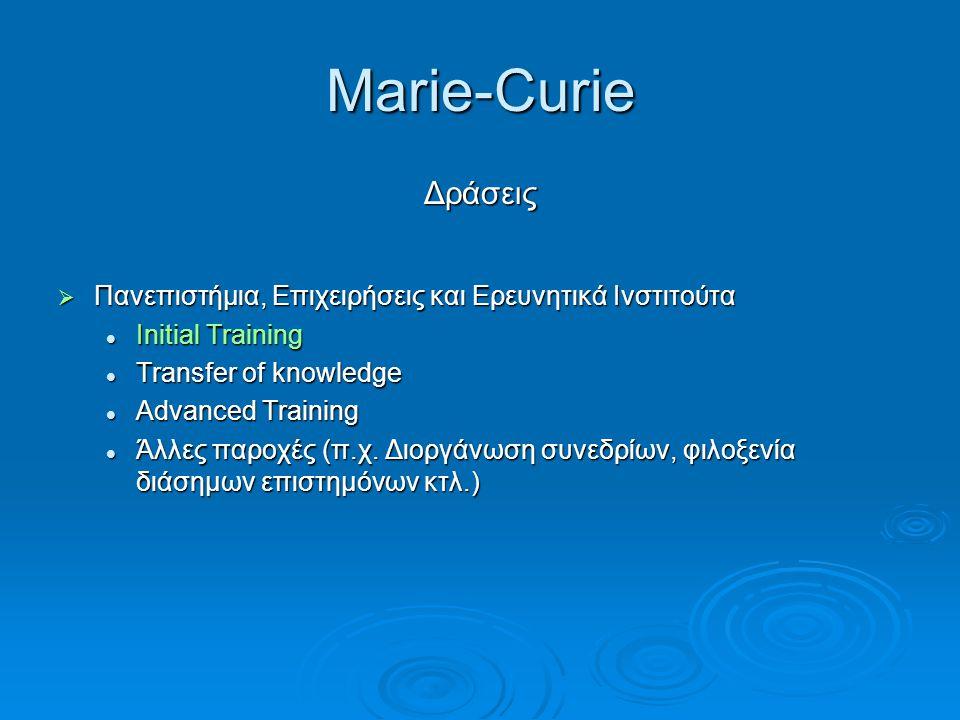 Marie-Curie Δράσεις  Πανεπιστήμια, Επιχειρήσεις και Ερευνητικά Ινστιτούτα Initial Training Initial Training Transfer of knowledge Transfer of knowled