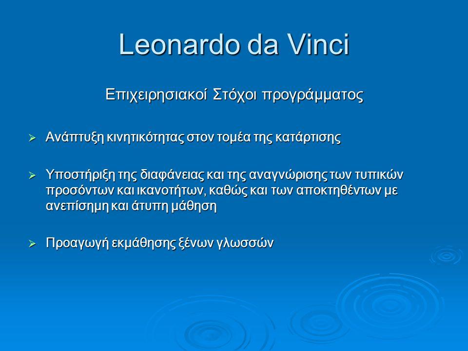 Leonardo da Vinci Επιχειρησιακοί Στόχοι προγράμματος  Ανάπτυξη κινητικότητας στον τομέα της κατάρτισης  Υποστήριξη της διαφάνειας και της αναγνώριση