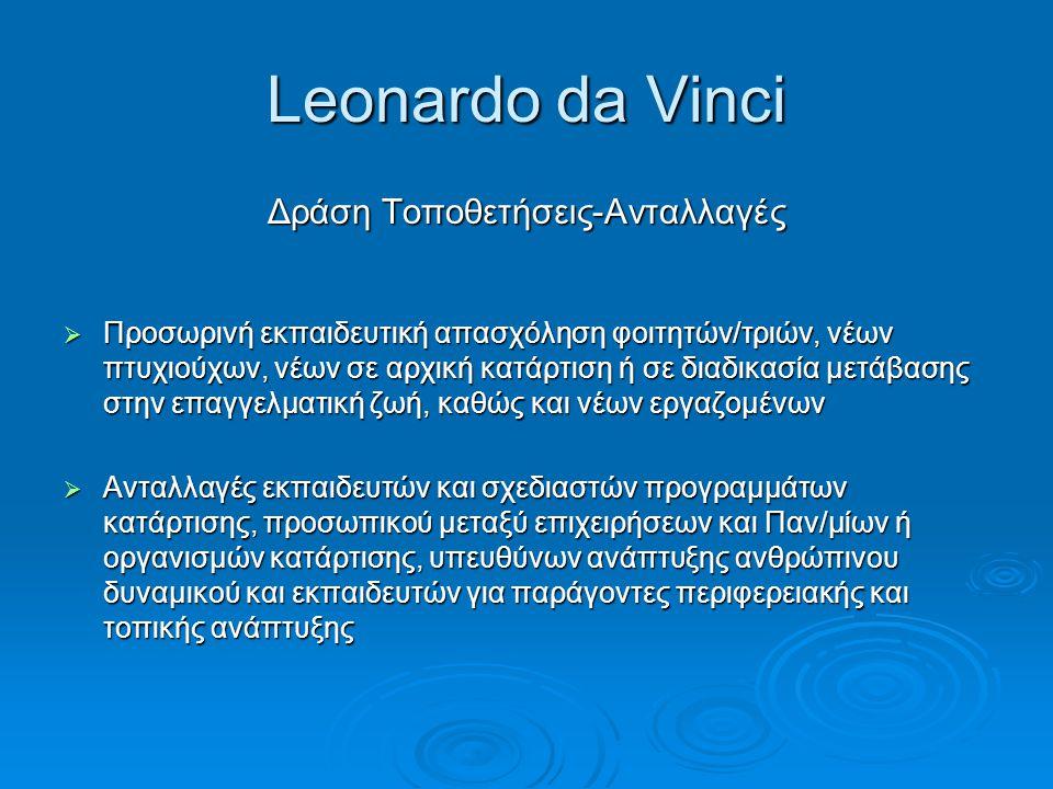 Leonardo da Vinci Δράση Τοποθετήσεις-Ανταλλαγές  Προσωρινή εκπαιδευτική απασχόληση φοιτητών/τριών, νέων πτυχιούχων, νέων σε αρχική κατάρτιση ή σε δια
