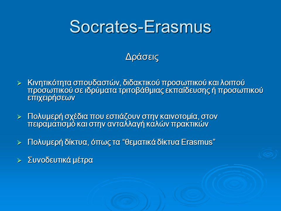 Socrates-Erasmus Δράσεις Δράσεις  Κινητικότητα σπουδαστών, διδακτικού προσωπικού και λοιπού προσωπικού σε ιδρύματα τριτοβάθμιας εκπαίδευσης ή προσωπι
