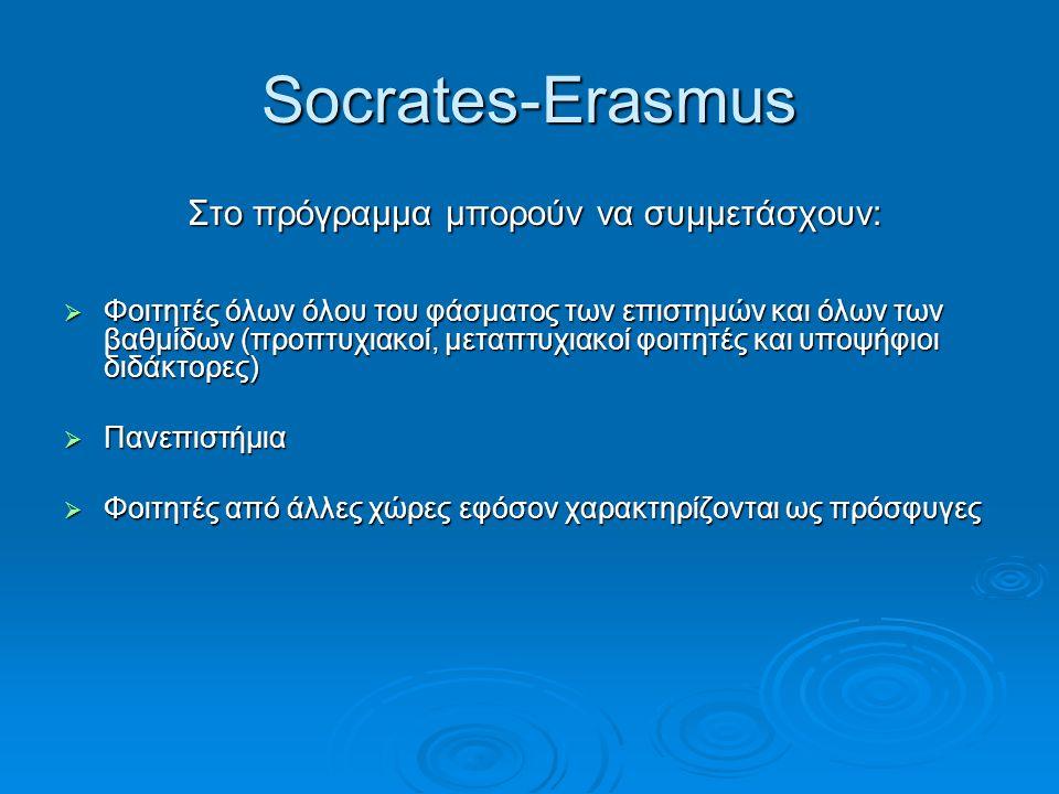 Socrates-Erasmus Στο πρόγραμμα μπορούν να συμμετάσχουν: Στο πρόγραμμα μπορούν να συμμετάσχουν:  Φοιτητές όλων όλου του φάσματος των επιστημών και όλω