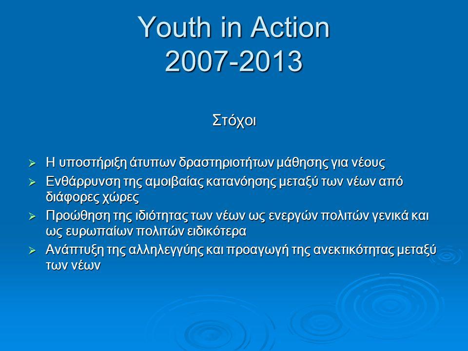 Youth in Action 2007-2013 Στόχοι  Η υποστήριξη άτυπων δραστηριοτήτων μάθησης για νέους  Ενθάρρυνση της αμοιβαίας κατανόησης μεταξύ των νέων από διάφ
