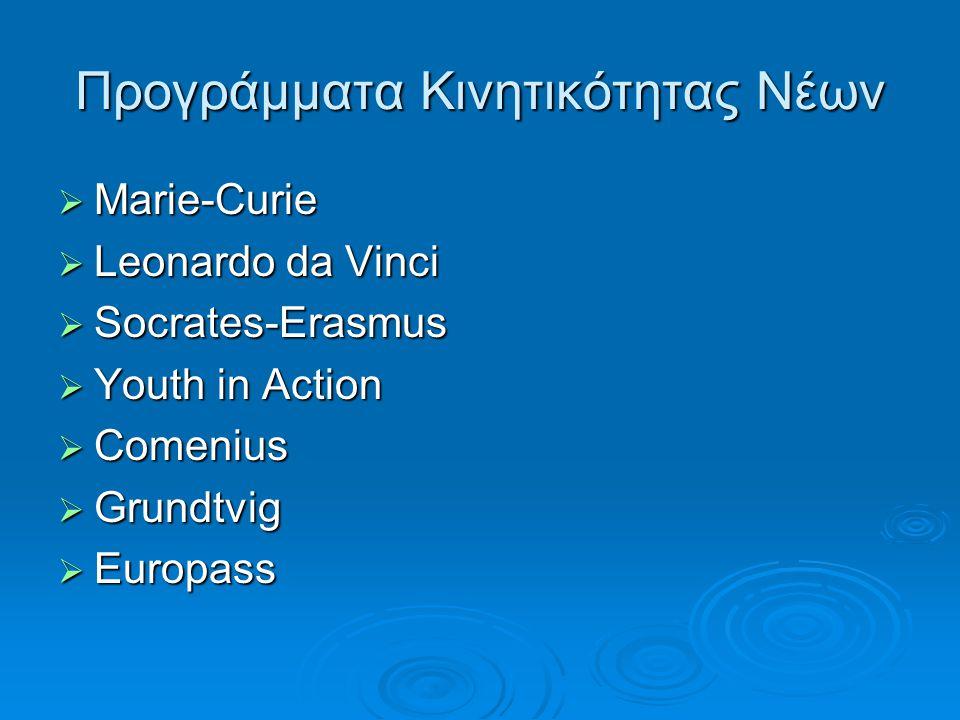 Προγράμματα Κινητικότητας Νέων  Marie-Curie  Leonardo da Vinci  Socrates-Erasmus  Youth in Action  Comenius  Grundtvig  Europass