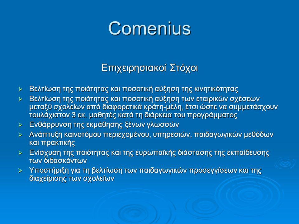 Comenius Επιχειρησιακοί Στόχοι  Βελτίωση της ποιότητας και ποσοτική αύξηση της κινητικότητας  Βελτίωση της ποιότητας και ποσοτική αύξηση των εταιρικ