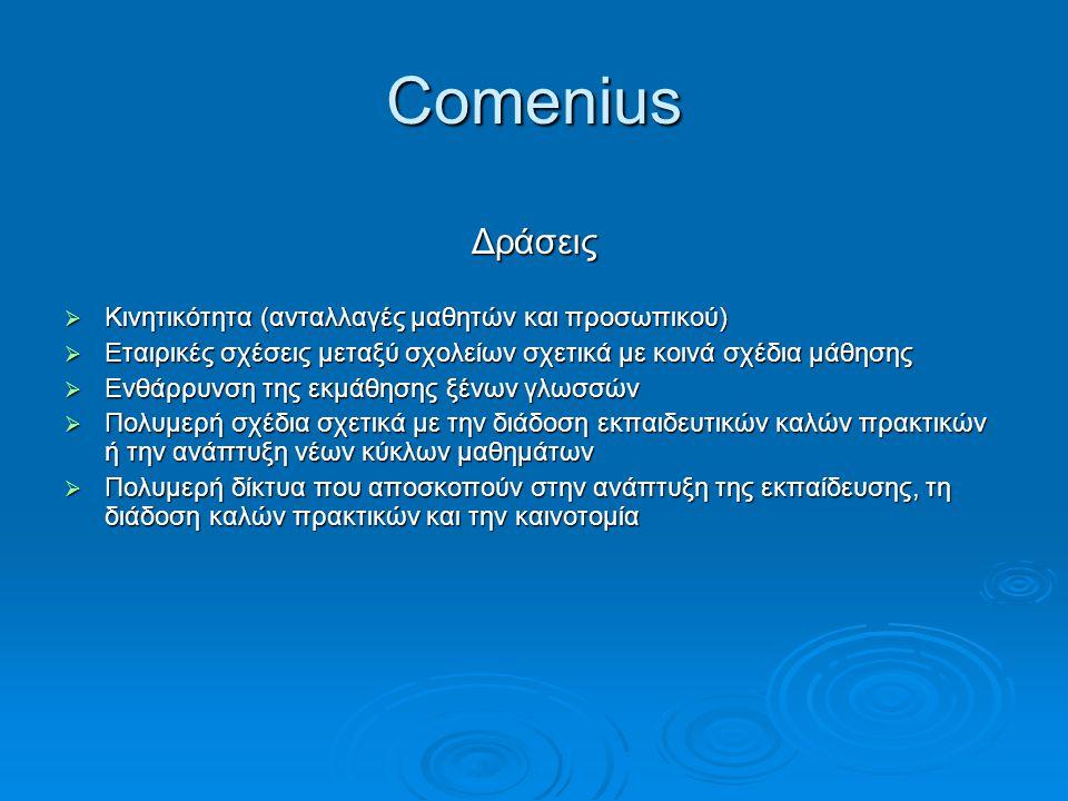 Comenius Δράσεις  Κινητικότητα (ανταλλαγές μαθητών και προσωπικού)  Εταιρικές σχέσεις μεταξύ σχολείων σχετικά με κοινά σχέδια μάθησης  Ενθάρρυνση τ