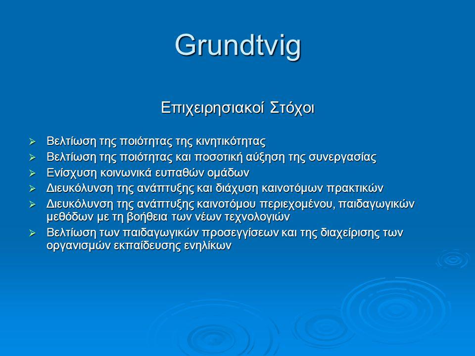 Grundtvig Επιχειρησιακοί Στόχοι  Βελτίωση της ποιότητας της κινητικότητας  Βελτίωση της ποιότητας και ποσοτική αύξηση της συνεργασίας  Ενίσχυση κοι