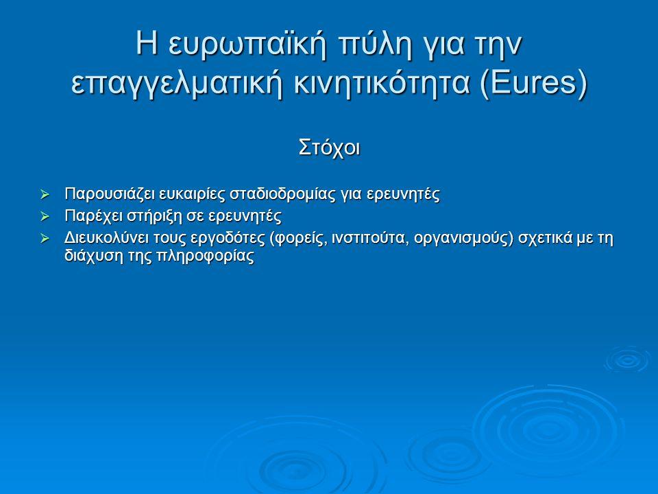 Η ευρωπαϊκή πύλη για την επαγγελματική κινητικότητα (Eures) Στόχοι  Παρουσιάζει ευκαιρίες σταδιοδρομίας για ερευνητές  Παρέχει στήριξη σε ερευνητές