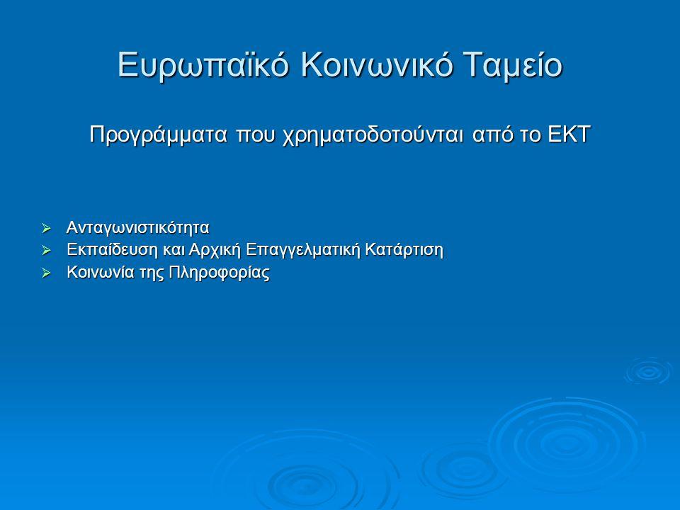 Ευρωπαϊκό Κοινωνικό Ταμείο Προγράμματα που χρηματοδοτούνται από το ΕΚΤ  Ανταγωνιστικότητα  Εκπαίδευση και Αρχική Επαγγελματική Κατάρτιση  Κοινωνία