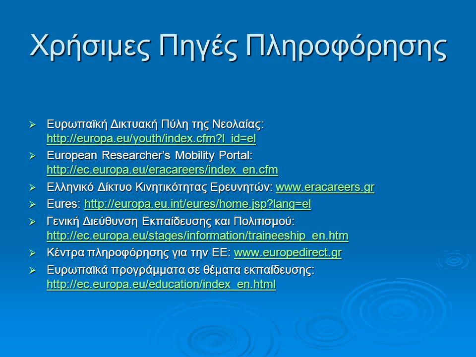 Χρήσιμες Πηγές Πληροφόρησης  Ευρωπαϊκή Δικτυακή Πύλη της Νεολαίας: http://europa.eu/youth/index.cfm?l_id=el http://europa.eu/youth/index.cfm?l_id=el