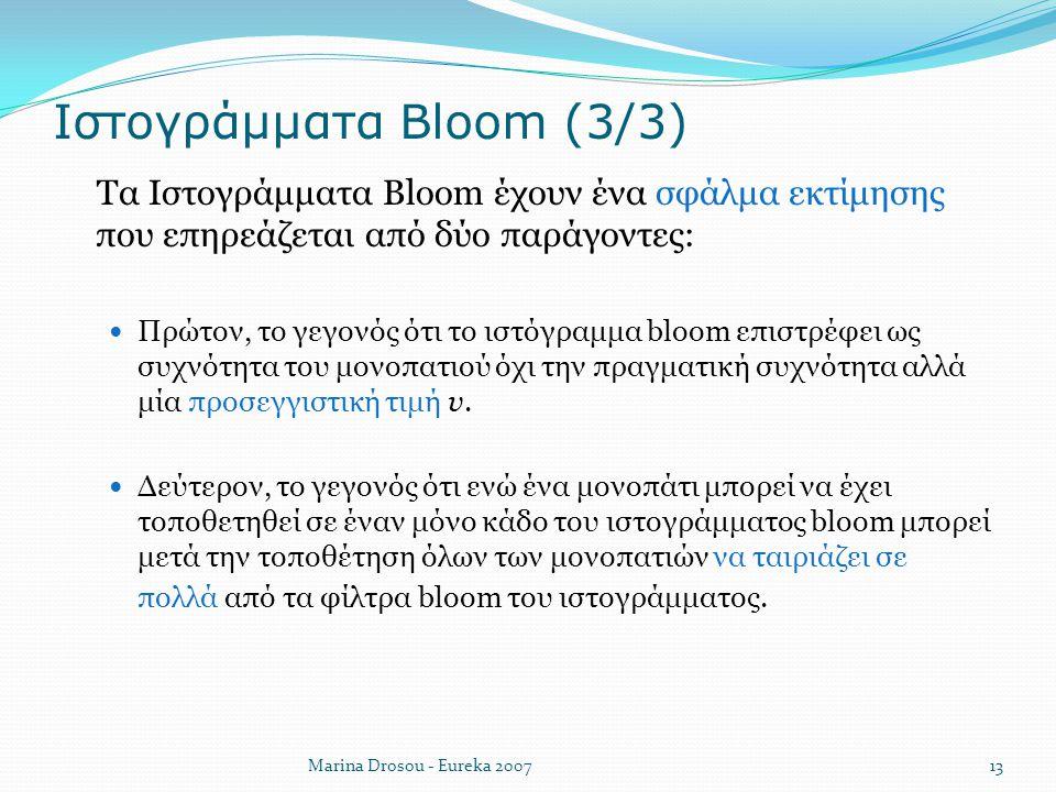 Ιστογράμματα Bloom (3/3)  Τα Ιστογράμματα Bloom έχουν ένα σφάλμα εκτίμησης που επηρεάζεται από δύο παράγοντες: Πρώτον, το γεγονός ότι το ιστόγραμμα b