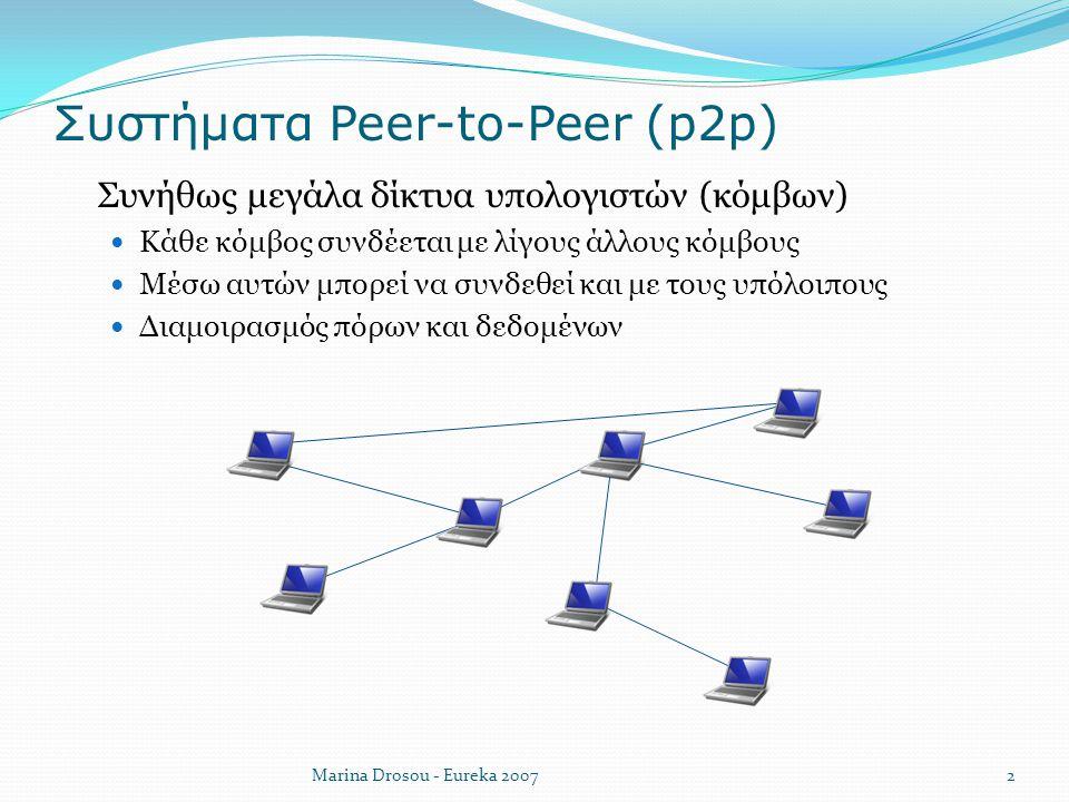 Συστήματα Peer-to-Peer (p2p)  Συνήθως μεγάλα δίκτυα υπολογιστών (κόμβων) Κάθε κόμβος συνδέεται με λίγους άλλους κόμβους Μέσω αυτών μπορεί να συνδεθεί
