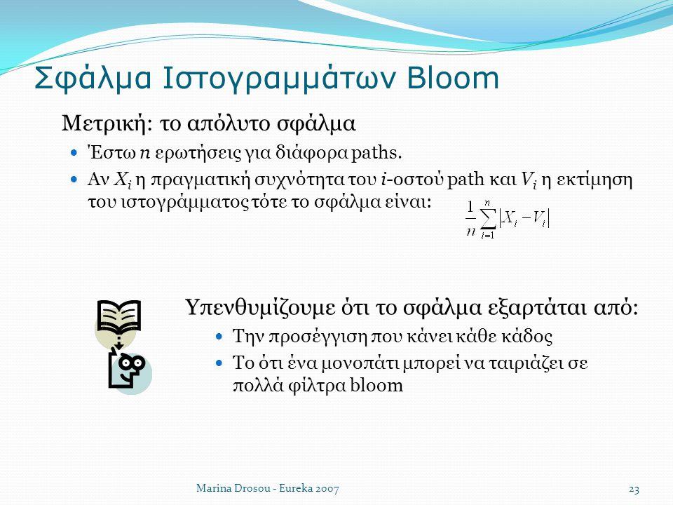 Σφάλμα Ιστογραμμάτων Bloom  Μετρική: το απόλυτο σφάλμα Έστω n ερωτήσεις για διάφορα paths. Αν X i η πραγματική συχνότητα του i-οστού path και V i η ε