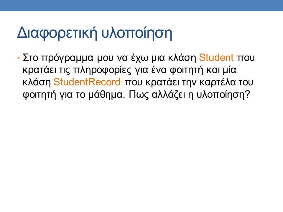 Διαφορετική υλοποίηση Στο πρόγραμμα μου να έχω μια κλάση Student που κρατάει τις πληροφορίες για ένα φοιτητή και μία κλάση StudentRecord που κρατάει την καρτέλα του φοιτητή για το μάθημα.