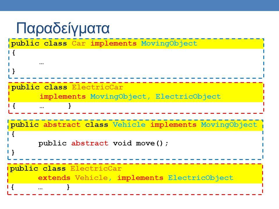 Παραδείγματα public class Car implements MovingObject { … } public abstract class Vehicle implements MovingObject { public abstract void move(); } pub