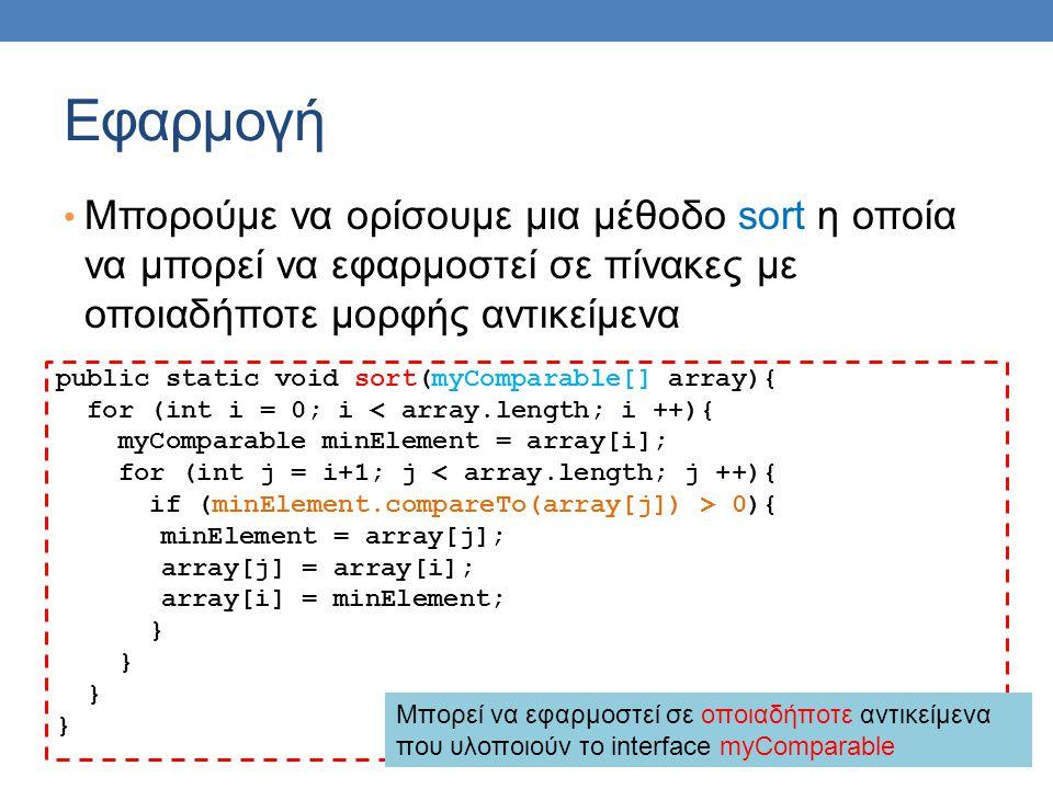 Εφαρμογή Μπορούμε να ορίσουμε μια μέθοδο sort η οποία να μπορεί να εφαρμοστεί σε πίνακες με οποιαδήποτε μορφής αντικείμενα public static void sort(myC