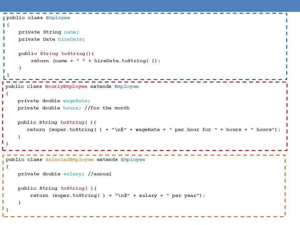 public abstract class Employee { private String name; private Date hireDate; public abstract int getPay(); public boolean samePay(Employee other){ return (this.getPay() == other.getPay()); } public Employee( ) { … } public Employee(String theName, Date theDate) { … } public Employee(Employee originalObject) { … } public String getName( ) { … } public void setName(String newName) { … } public Date getHireDate( ) { … } public void setHireDate(Date newDate) { … } public String toString() { … } } Ορισμός της αφηρημένης κλάσης Ορισμός της αφηρημένης μεθόδου Χρήση της αφηρημένης μεθόδου και της αφηρημένης κλάσης Όταν καλέσουμε την samePay θα την καλέσουμε με ένα αντικείμενο μιας από τις παράγωγες κλάσεις.