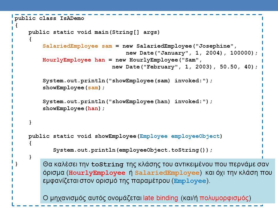 Παράδειγμα: Το interface myComparable Το interface myComparable ορίζει interface για αντικείμενα τα οποία μπορούν να συγκριθούν μεταξύ τους Υπάρχει στην Java το interface Comparable αλλά είναι λίγο διαφορετικό Ορίζει την μέθοδο public int compareTo(Object other); Σημασιολογία: Αν η μέθοδος επιστρέψει αρνητικό αριθμό τότε το αντικείμενο this είναι μικρότερο από το αντικείμενο other Αν η μέθοδος επιστρέψει μηδέν τότε το αντικείμενο this είναι ίσο με το αντικείμενο other Αν η μέθοδος επιστρέψει θετικό αριθμό τότε το αντικείμενο this είναι μεγαλύτερο από το αντικείμενο other