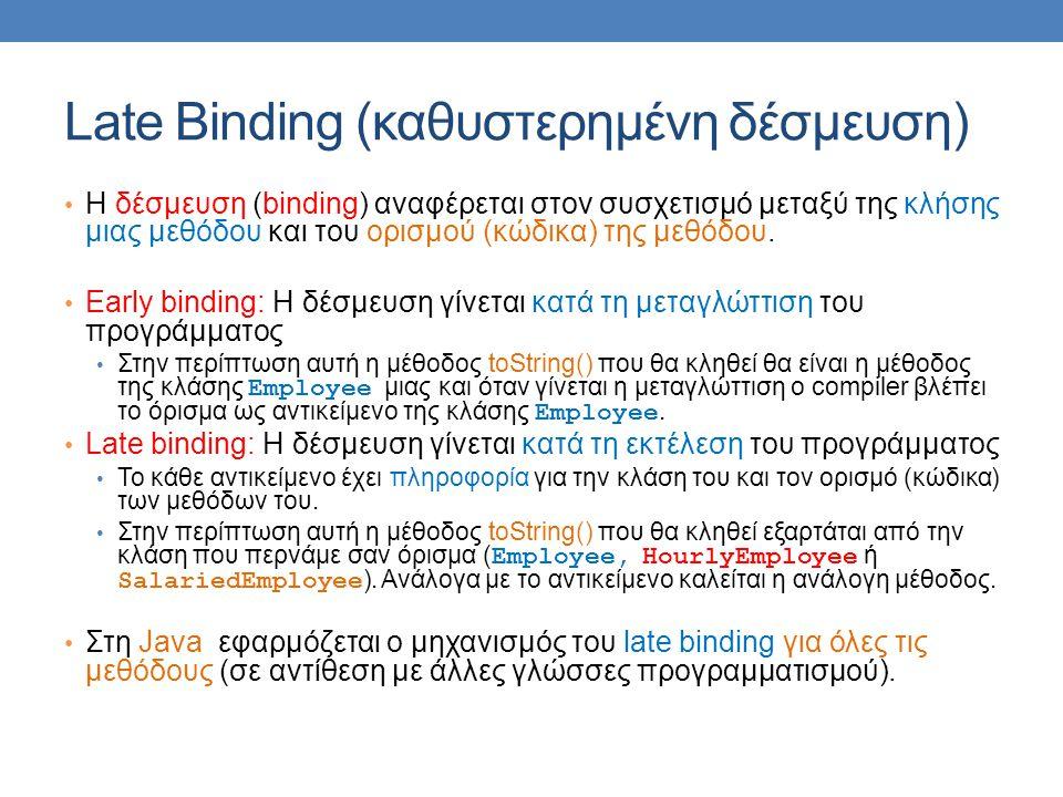 Late Binding (καθυστερημένη δέσμευση) Η δέσμευση (binding) αναφέρεται στον συσχετισμό μεταξύ της κλήσης μιας μεθόδου και του ορισμού (κώδικα) της μεθό