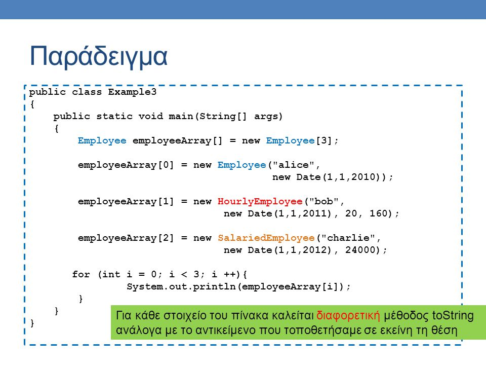 Εφαρμογή Μπορούμε να ορίσουμε μια μέθοδο sort η οποία να μπορεί να εφαρμοστεί σε πίνακες με οποιαδήποτε μορφής αντικείμενα public static void sort(myComparable[] array){ for (int i = 0; i < array.length; i ++){ myComparable minElement = array[i]; for (int j = i+1; j < array.length; j ++){ if (minElement.compareTo(array[j]) > 0){ minElement = array[j]; array[j] = array[i]; array[i] = minElement; } Μπορεί να εφαρμοστεί σε οποιαδήποτε αντικείμενα που υλοποιούν το interface myComparable