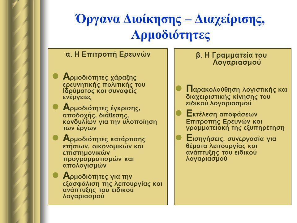 Όργανα Διοίκησης – Διαχείρισης, Αρμοδιότητες α.
