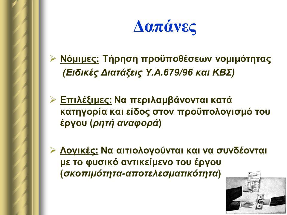 Δαπάνες  Νόμιμες: Τήρηση προϋποθέσεων νομιμότητας (Ειδικές Διατάξεις Υ.Α.679/96 και ΚΒΣ)  Επιλέξιμες: Να περιλαμβάνονται κατά κατηγορία και είδος στον προϋπολογισμό του έργου (ρητή αναφορά)  Λογικές: Να αιτιολογούνται και να συνδέονται με το φυσικό αντικείμενο του έργου (σκοπιμότητα-αποτελεσματικότητα)