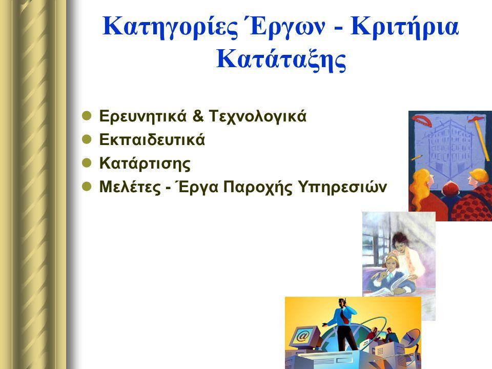 Κατηγορίες Έργων - Κριτήρια Κατάταξης Ερευνητικά & Τεχνολογικά Εκπαιδευτικά Κατάρτισης Μελέτες - Έργα Παροχής Υπηρεσιών