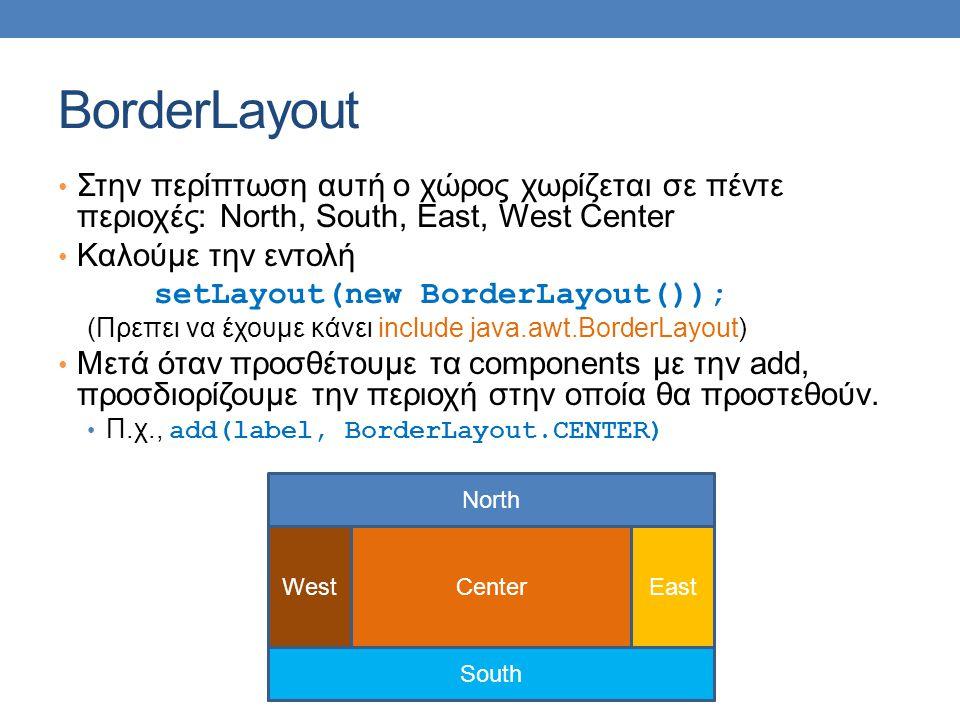 BorderLayout Στην περίπτωση αυτή ο χώρος χωρίζεται σε πέντε περιοχές: North, South, East, West Center Καλούμε την εντολή setLayout(new BorderLayout()); (Πρεπει να έχουμε κάνει include java.awt.BorderLayout) Μετά όταν προσθέτουμε τα components με την add, προσδιορίζουμε την περιοχή στην οποία θα προστεθούν.