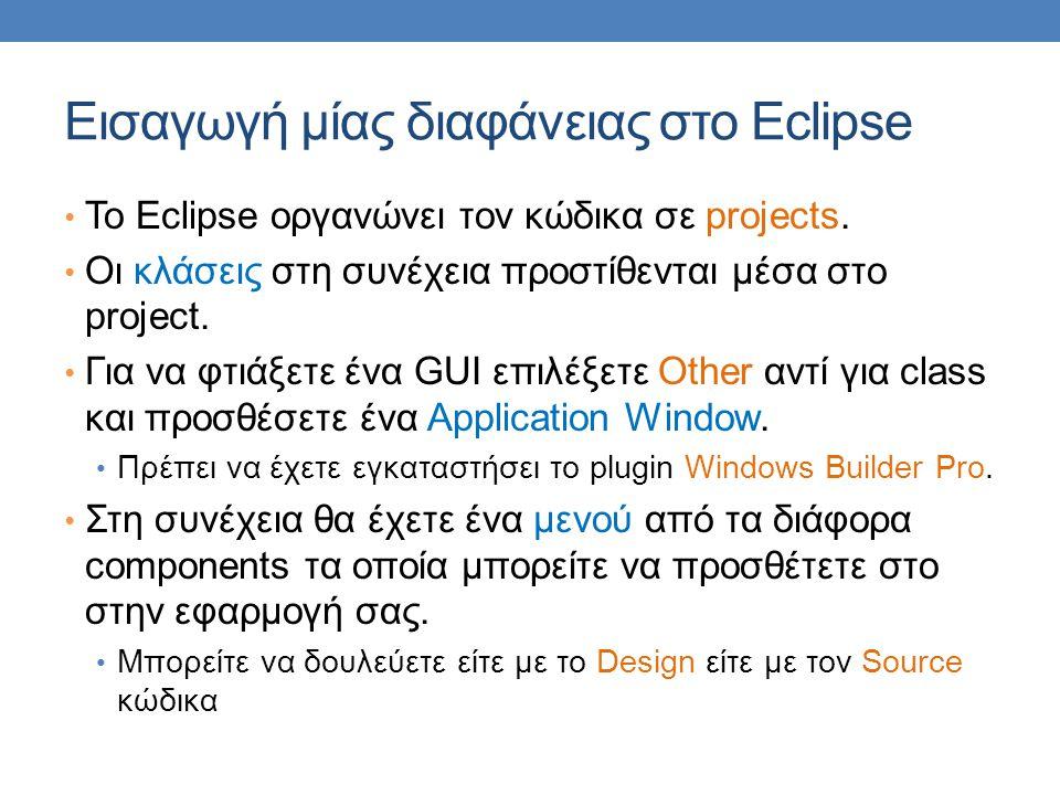 Εισαγωγή μίας διαφάνειας στο Eclipse To Eclipse οργανώνει τον κώδικα σε projects.