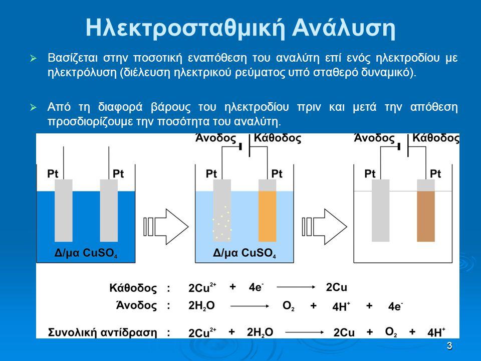 3 Ηλεκτροσταθμική Ανάλυση   Βασίζεται στην ποσοτική εναπόθεση του αναλύτη επί ενός ηλεκτροδίου με ηλεκτρόλυση (διέλευση ηλεκτρικού ρεύματος υπό σταθερό δυναμικό).