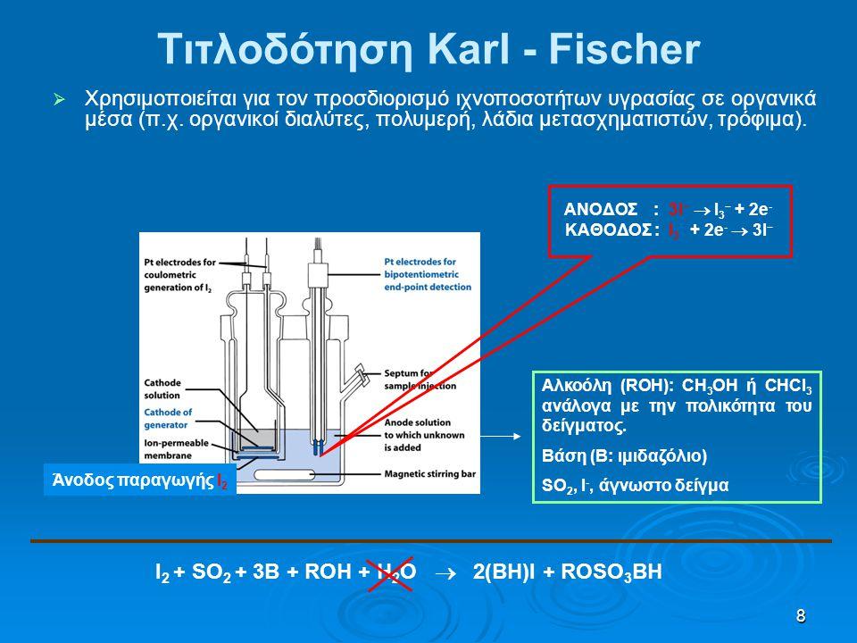 8 Άνοδος παραγωγής Ι 2 I 2 + SO 2 + 3B + ROH + H 2 O  2(BH)I + ROSO 3 BH ΑΝΟΔΟΣ : 3Ι −  I 3 − + 2e - ΚΑΘΟΔΟΣ : Ι 3 − + 2e -  3I − Τιτλοδότηση Karl - Fischer   Χρησιμοποιείται για τον προσδιορισμό ιχνοποσοτήτων υγρασίας σε οργανικά μέσα (π.χ.