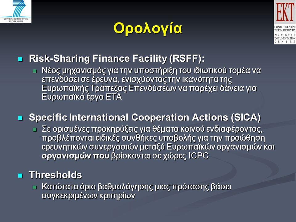 Ορολογία Risk-Sharing Finance Facility (RSFF): Risk-Sharing Finance Facility (RSFF): Νέος μηχανισμός για την υποστήριξη του ιδιωτικού τομέα να επενδύσει σε έρευνα, ενισχύοντας την ικανότητα της Ευρωπαϊκής Τράπεζας Επενδύσεων να παρέχει δάνεια για Ευρωπαϊκά έργα ΕΤΑ Νέος μηχανισμός για την υποστήριξη του ιδιωτικού τομέα να επενδύσει σε έρευνα, ενισχύοντας την ικανότητα της Ευρωπαϊκής Τράπεζας Επενδύσεων να παρέχει δάνεια για Ευρωπαϊκά έργα ΕΤΑ Specific International Cooperation Actions (SICA) Specific International Cooperation Actions (SICA) Σε ορισμένες προκηρύξεις για θέματα κοινού ενδιαφέροντος, προβλέπονται ειδικές συνθήκες υποβολής για την προώθηση ερευνητικών συνεργασιών μεταξύ Ευρωπαϊκών οργανισμών και οργανισμών που βρίσκονται σε χώρες ICPC Σε ορισμένες προκηρύξεις για θέματα κοινού ενδιαφέροντος, προβλέπονται ειδικές συνθήκες υποβολής για την προώθηση ερευνητικών συνεργασιών μεταξύ Ευρωπαϊκών οργανισμών και οργανισμών που βρίσκονται σε χώρες ICPC Thresholds Thresholds Κατώτατο όριο βαθμολόγησης μιας πρότασης βάσει συγκεκριμένων κριτηρίων Κατώτατο όριο βαθμολόγησης μιας πρότασης βάσει συγκεκριμένων κριτηρίων