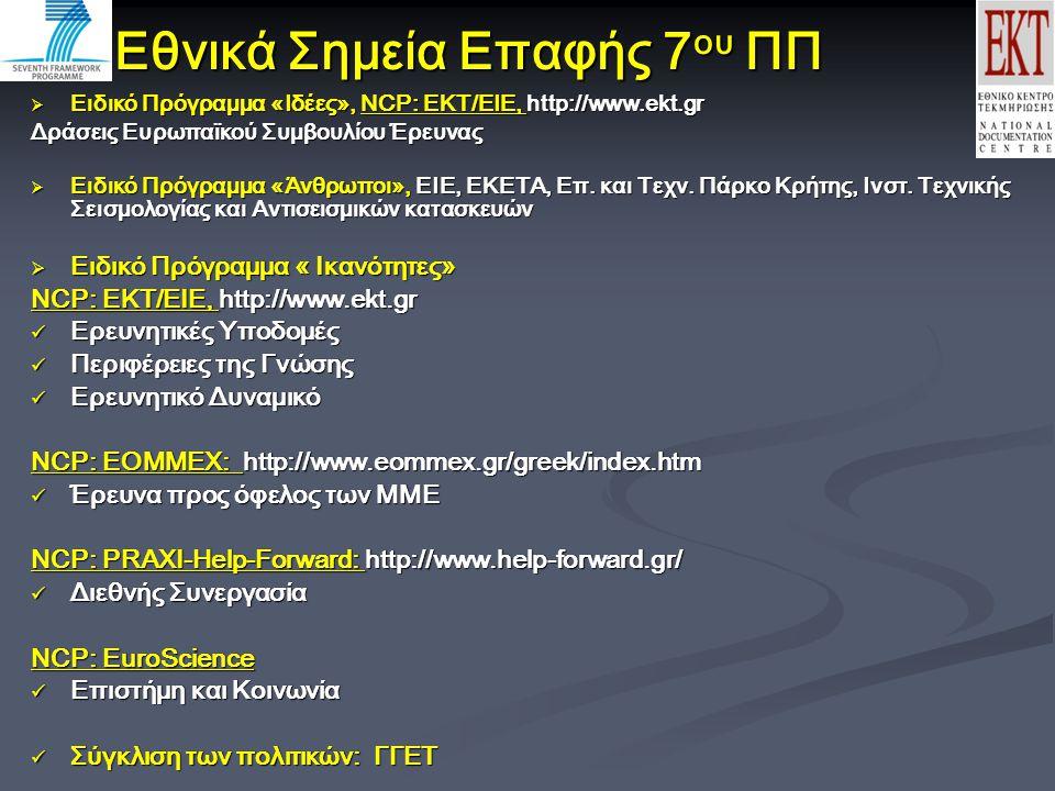Εθνικά Σημεία Επαφής 7 ου ΠΠ  Ειδικό Πρόγραμμα «Ιδέες», NCP: EKT/EIE, http://www.ekt.gr Δράσεις Ευρωπαϊκού Συμβουλίου Έρευνας  Ειδικό Πρόγραμμα «Άνθρωποι», ΕΙΕ, ΕΚΕΤΑ, Επ.