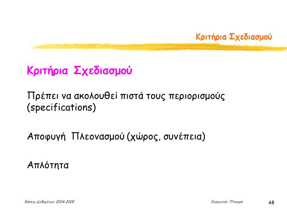 Βάσεις Δεδομένων 2004-2005 Ευαγγελία Πιτουρά 48 Κριτήρια Σχεδιασμού Πρέπει να ακολουθεί πιστά τους περιορισμούς (specifications) Αποφυγή Πλεονασμού (χώρος, συνέπεια) Απλότητα