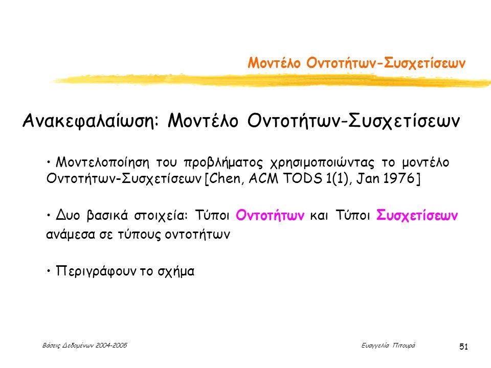 Βάσεις Δεδομένων 2004-2005 Ευαγγελία Πιτουρά 51 Μοντέλο Οντοτήτων-Συσχετίσεων Ανακεφαλαίωση: Μοντέλο Οντοτήτων-Συσχετίσεων Μοντελοποίηση του προβλήματος χρησιμοποιώντας το μοντέλο Οντοτήτων-Συσχετίσεων [Chen, ACM TODS 1(1), Jan 1976] Δυο βασικά στοιχεία: Τύποι Οντοτήτων και Τύποι Συσχετίσεων ανάμεσα σε τύπους οντοτήτων Περιγράφουν το σχήμα